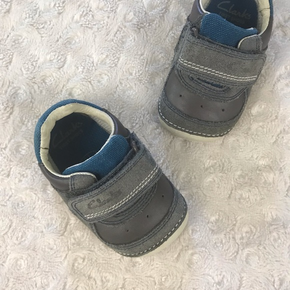 Clarks First Shoes Blue Gray Baby Boy
